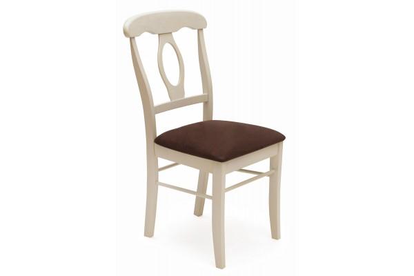 Стул NAPOLEON с мягким сиденьем (Античный белый/Тёмный дуб;Ткань Тёмно-коричн.)
