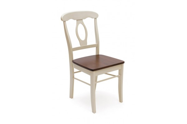 Стул NAPOLEON с твёрдым сиденьем (Античный белый/Тёмный дуб)